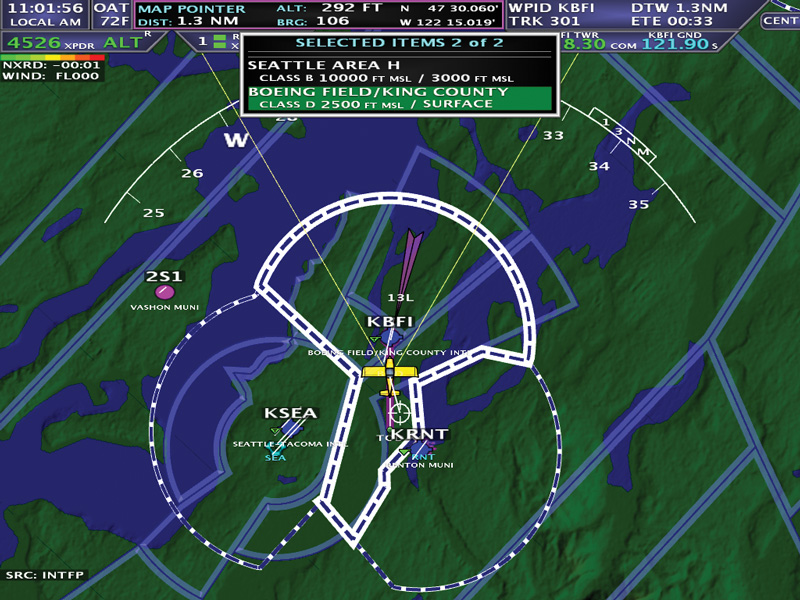 Airport and Airspace Information AF-5000 series display feature
