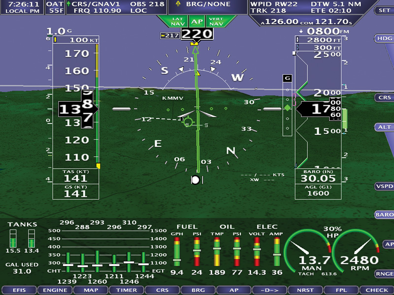 GPS and ILS AF-5000 series display feature